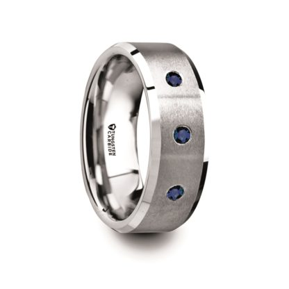 September Birthstone Ring with Blue Sapphires, Beveled Edges in Tungsten Model #6010