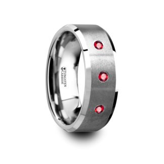 July Birthstone Ring with Red Rubies, Beveled Edges in Tungsten Model #6015