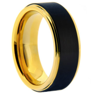 8 mm Black Tungsten with Yellow Gold Sleeve Model #2025