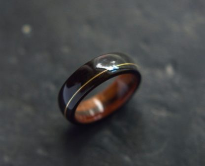 8 mm Bentwood Ring with Santos Rosewood Sleeve & Ebony Outer with Guitar String Inlay Model #9304.4