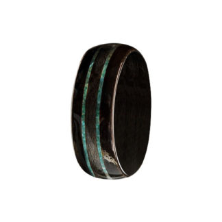 8 mm Bentwood Ring with Ebony Wood and Turquoise Inlays Model #9115