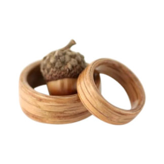 8 mm & 6 mm Bentwood Ring SET with Light Oak Model #9100S