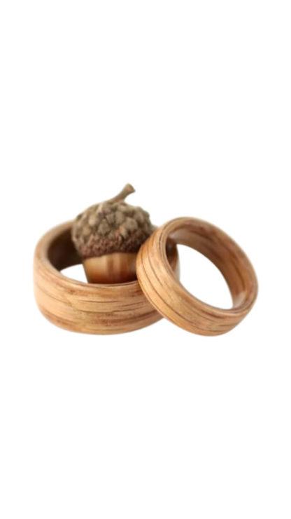 8 mm & 6 mm Bentwood Ring SET with Light Oak Model #9100S