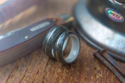 8 mm & 6 mm Bentwood Ring Set with Antler Sleeve and Bird's Eye Maple/Silver Inlay Model #9309