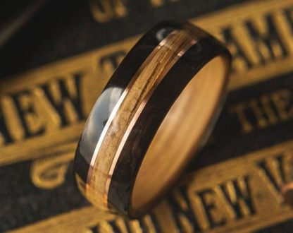 8 mm Bentwood Ring with Whiskey Barrel Sleeve and Ebony Outer with 2 Copper Inlays Model #9305.3
