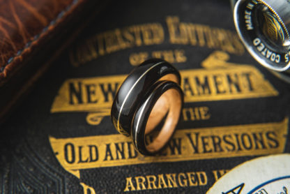8 mm & 6 mm Bentwood Ring Set with Birds Eye Maple Sleeve and Ebony/Silver Inlay Model #9314