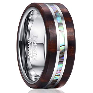 8 mm Mahogany Wood Inlay & Abalone Shell with Tungsten Model #2030