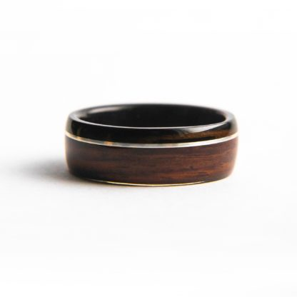 8 mm Bentwood Ring with Ebony Sleeve & Rosewood Outer with Offset Silver Inlay Model #9303.2