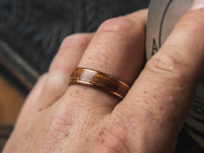 8 mm Bentwood Ring with Santos Rosewood & Dual Copper Inlays Model #9300.2
