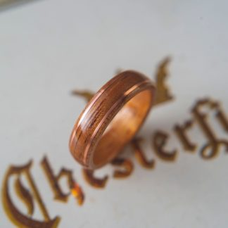 8 mm Bentwood Ring with KOA wood & Dual Copper Inlays Model #9300.4
