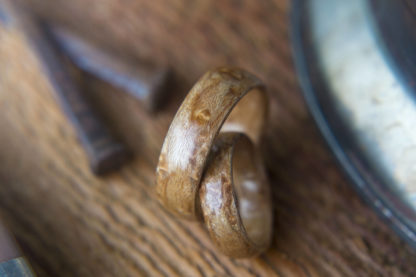 8 mm & 6 mm Bentwood Ring Set with Birds Eye Maple Model #9315
