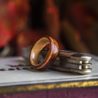 8 mm Bentwood Ring with Rosewood & Maple, with Gold Flake Inlay Model #9304.8