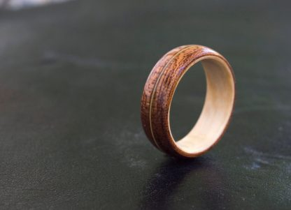 8 mm Bentwood Ring with Mahogany & Bird's Eye Maple, with Guitar String Inlay Model #9304.9