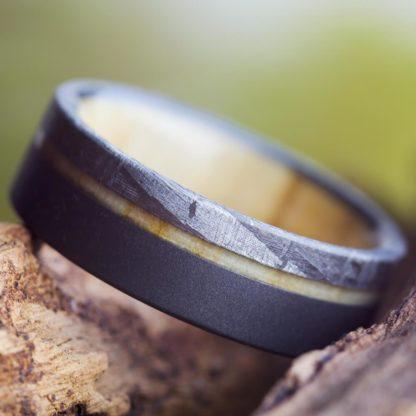 8 mm Aspen Wood & Meteorite Inlay in Sandblasted Titanium Model #3174