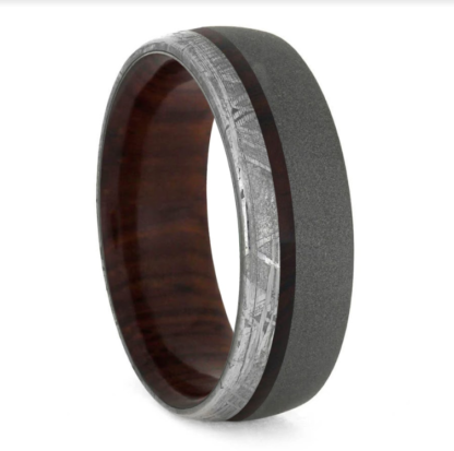 8 mm Cocobolo Wood & Meteorite Inlay in Sandblasted Titanium Model #3173
