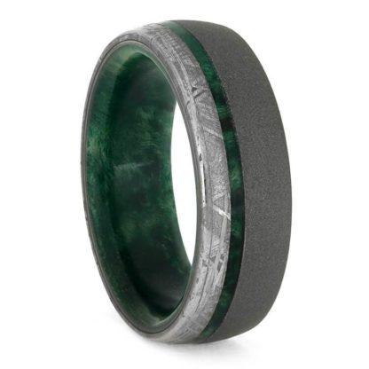 8 mm Green Box Elder Wood & Meteorite Inlay in Sandblasted Titanium Model #3176